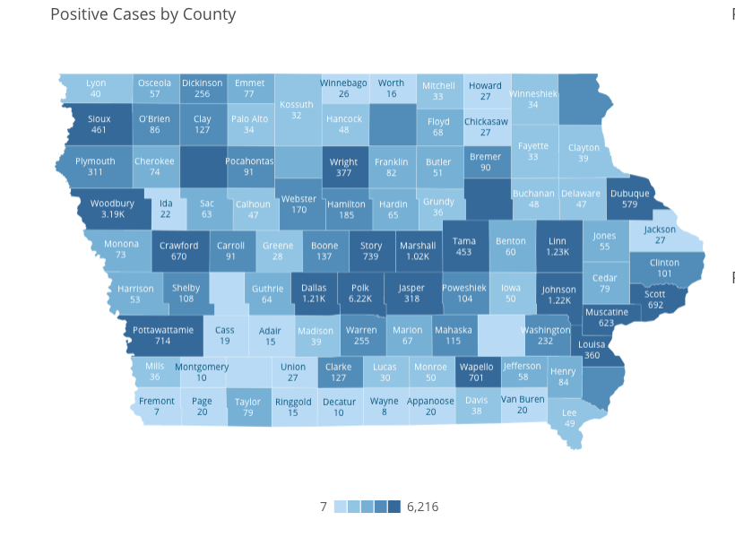 Iowa COVID-19 case information by county in Iowa reported Thursday, July 2, as of 10 a.m. by the Iowa Department of Public Health.