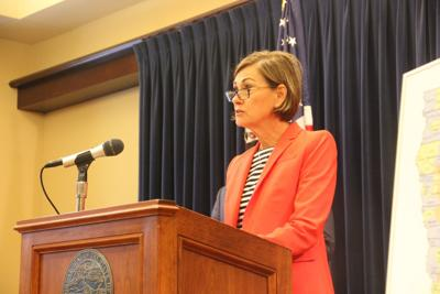 Gov. Kim Reynolds holds a press conference on Thursday and shares school reopening plans. (Photo by Linh Ta/Iowa Capital Dispatch)