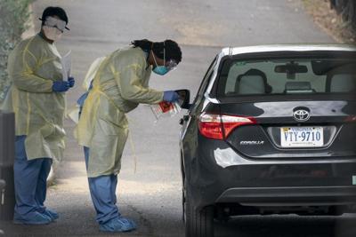 A drive-through COVID-19 testing site in Arlington, Va