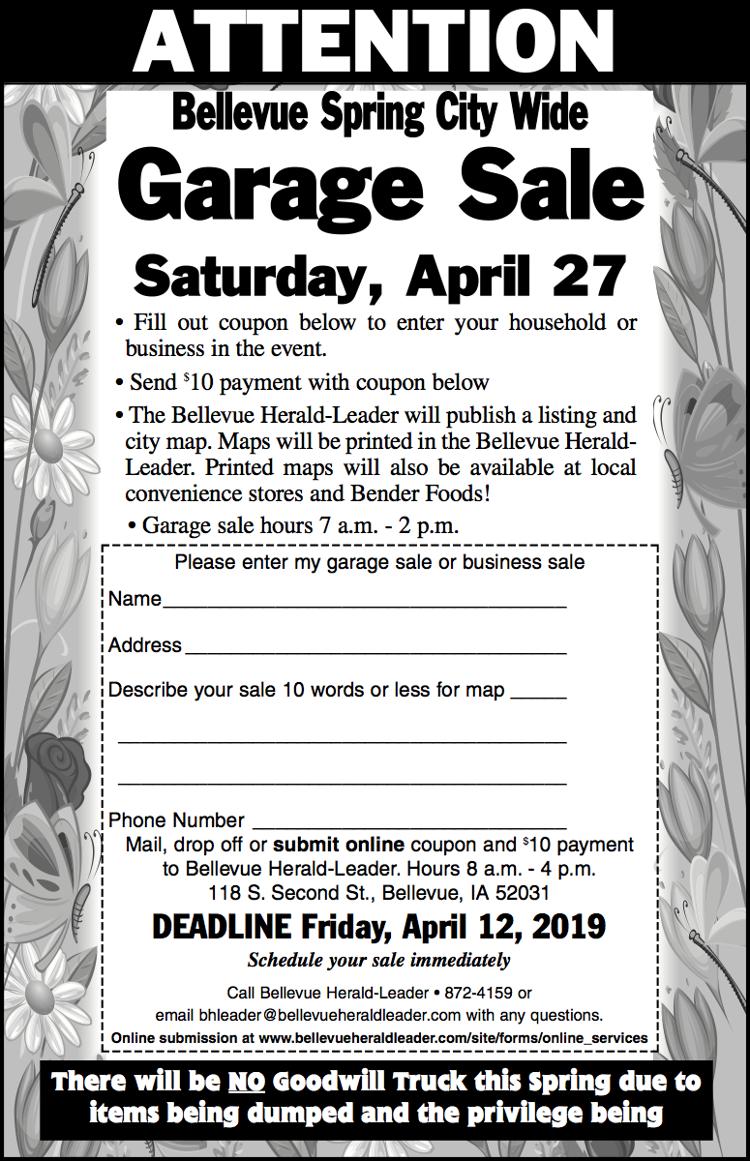 Bellevue Spring City Wide Garage Sale | Calendar