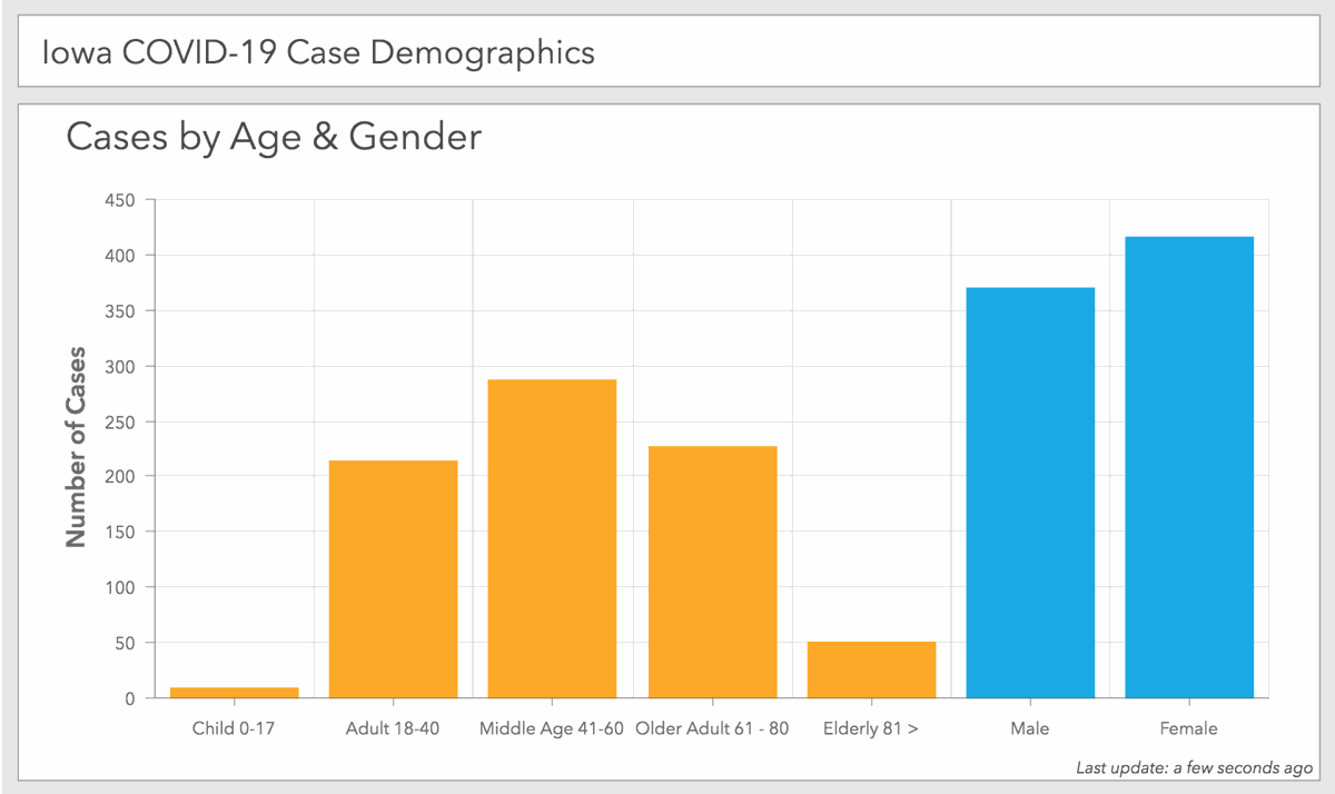 Iowa COVID-19 case demographics as of 11 a.m. Saturday, April 4, reported by the Iowa Department of Public Health.