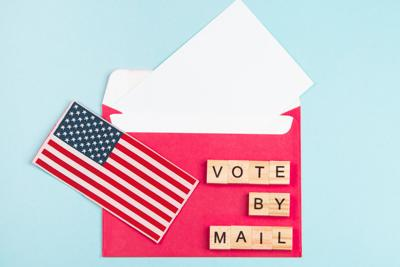 Election Day in the United States, mail voting concept.
