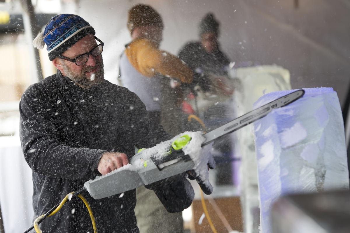 WinterFest sculptors showcase skills on a blustery day