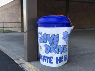 Obsidian Middle School glove drive bin