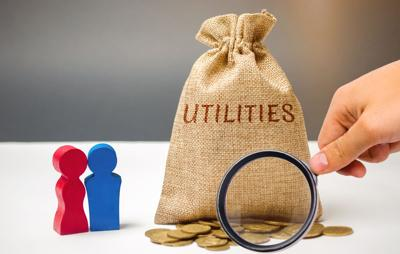 A money bag with the word Utilities and a family. The concept of saving money for the payment of utilities. The accumulation of money. A large debt. Electricity bill, heating. Debt repayment