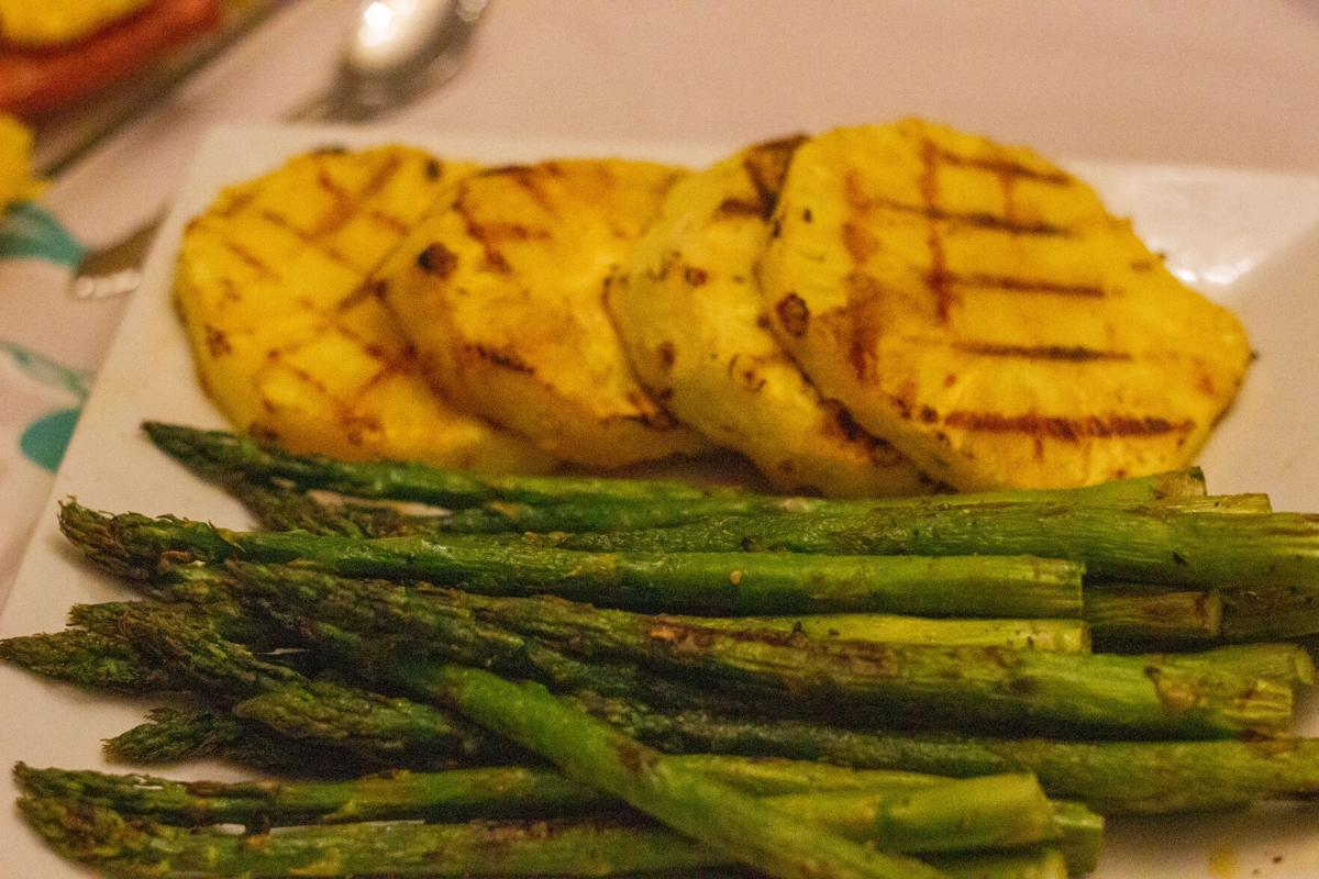 Grilled pineapple with grilled asparagus