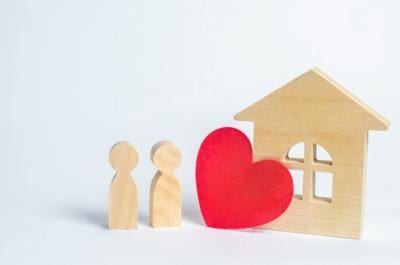 Family and home love concept. House of lovers. Affordable housing for young families. Accommodation for lovers of couples.