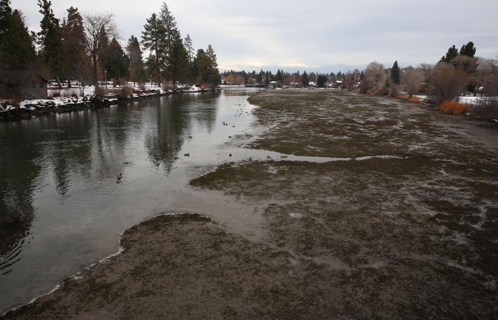 Mirror Pond dam undergoing routine maintenance