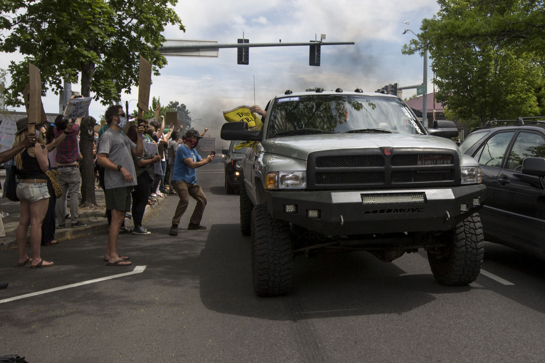 Bend Man Charged With Harassing Protesters With Truck Exhaust Local State Bendbulletin Com
