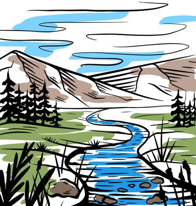 Nature color sketch of a meadow with a river, mountains and firs (copy)
