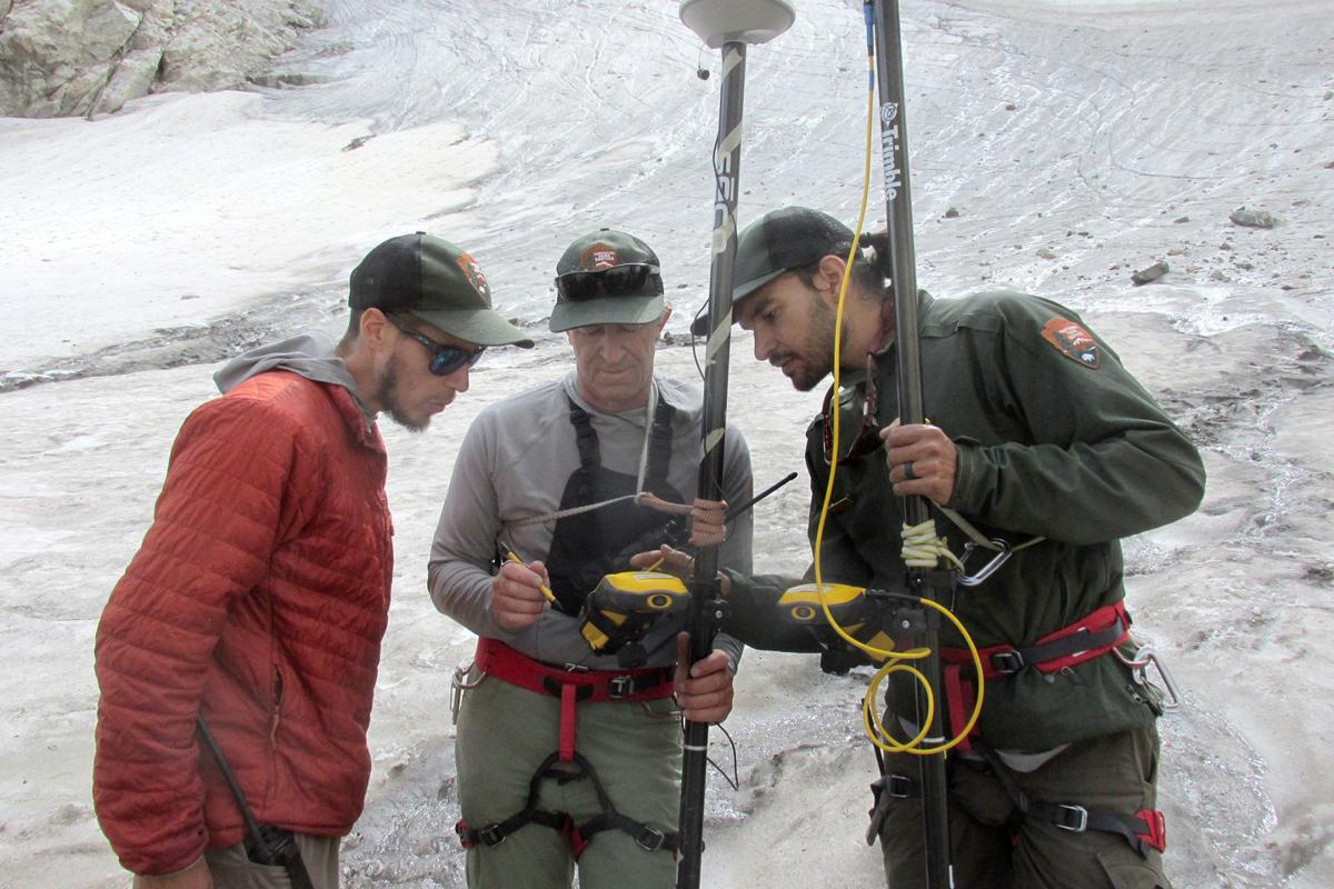 Scientists measure the health of Middle Teton Glacier