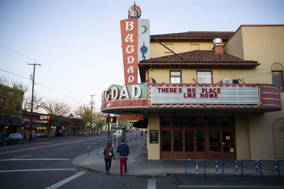The Bagdad heater in SE Portland on March 19, 2020.  Dave Killen / Staff  - Closed Portland theaters offer coronavirus messages on their marquees Dave Killen