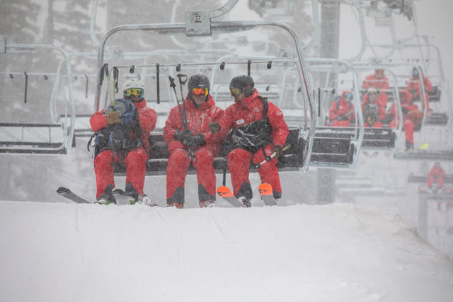 Skiers in snow at Mt. Bachelor