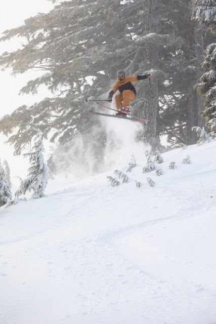 Skier at Mt. Bachelor during heavy snowfall
