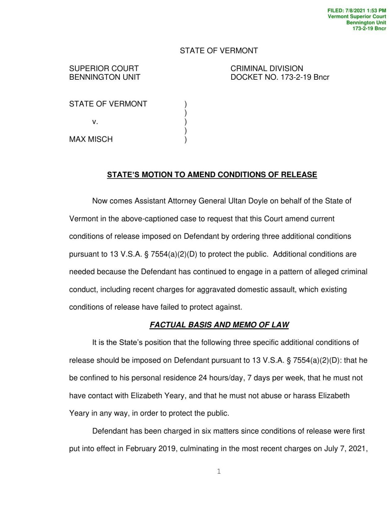 State v. Max Misch - state's motion to amend conditions of release