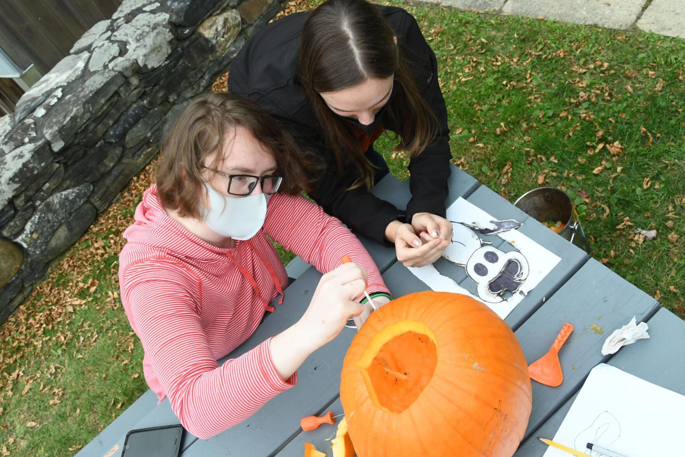 Bennington College Students Carve a Pumpkin