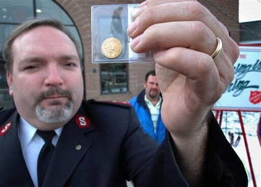 $14,000 coin dropped into Salvation Army kettle