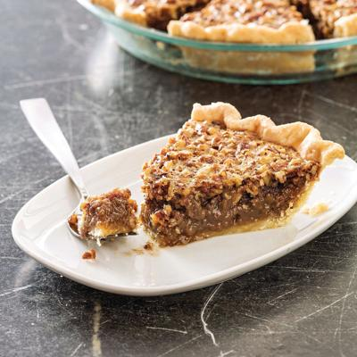 Pecan pie with a smooth-textured filling and a nice crust