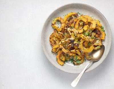 Roasted delicata squash on a a plate