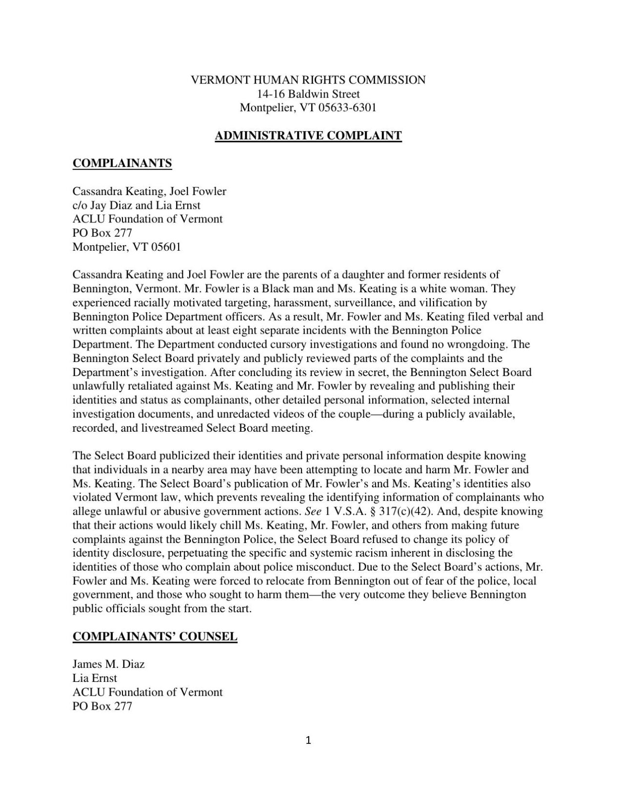 Fowler-Keating complaint to the VHRC