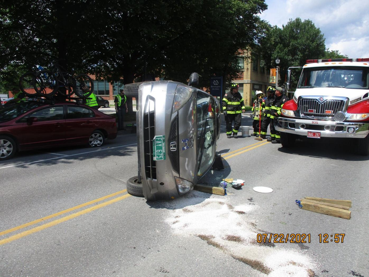 Rollover crash on North Street, Bennington, 7/22/21
