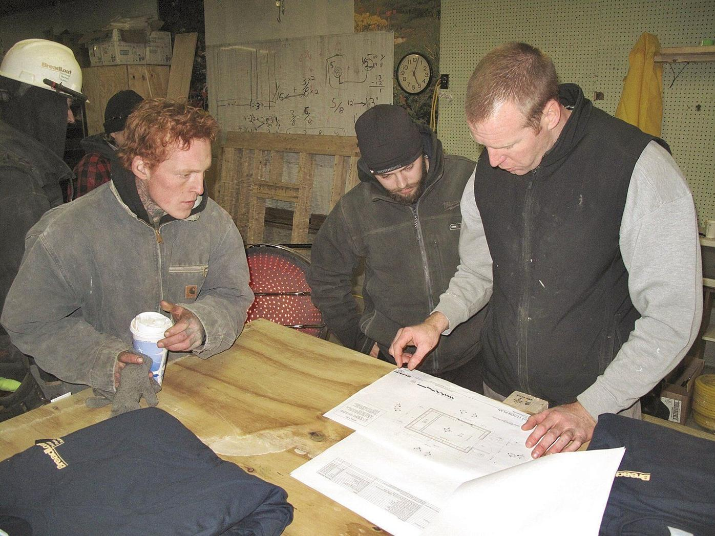Bread Loaf workers build skills by constructing a shed at the Putnam Block
