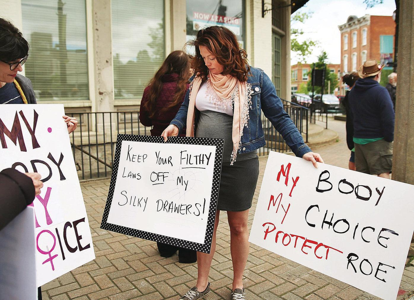 Local demonstrators join national action against abortion limits