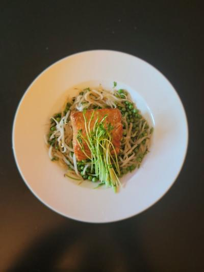 Cedar-planked salmon with maple-lime glaze