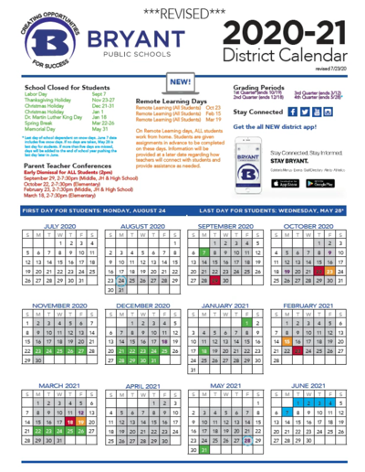 Bryant Revised Calendar
