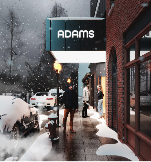 Vertical of Adams Theater design
