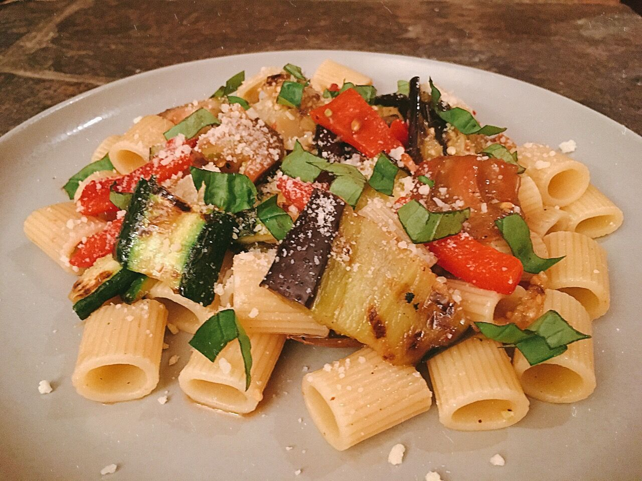 Grilled Vegetable Pasta on Plate