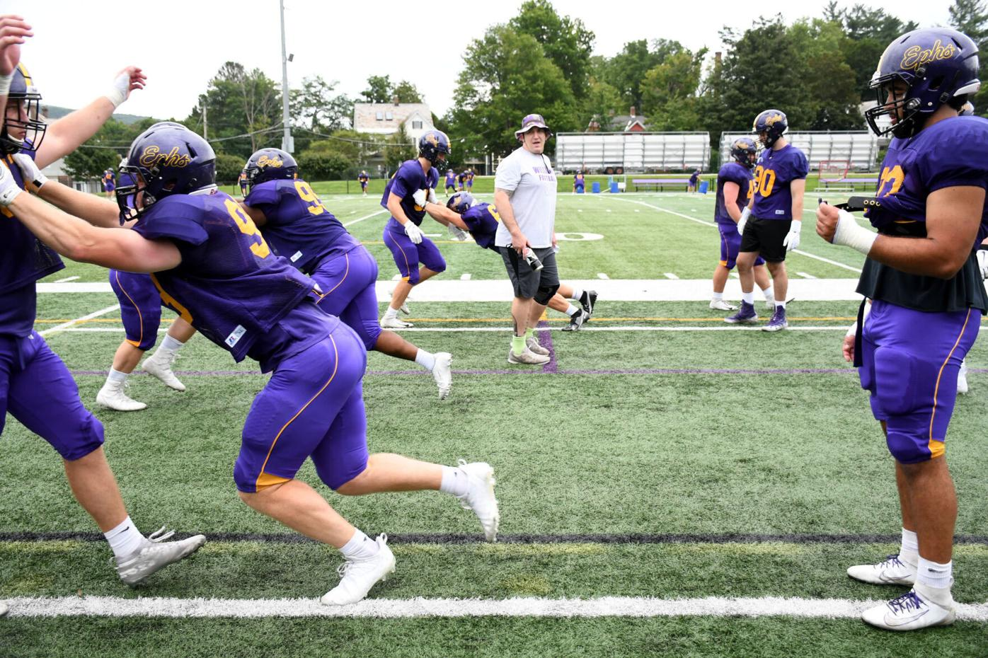 Williams College Football players practice