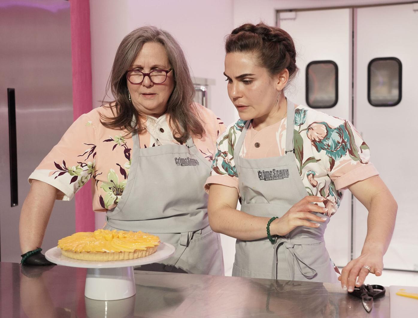 "Contestants Leslie Milton and her daughter, Emma Rosenthal, on the set of ""Crime Scene Kitchen."""