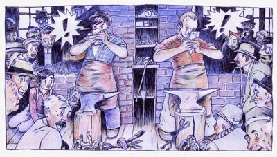 Illustrator shapes 'massacre' parody of Rockwell's 'Shuffleton's Barbershop'