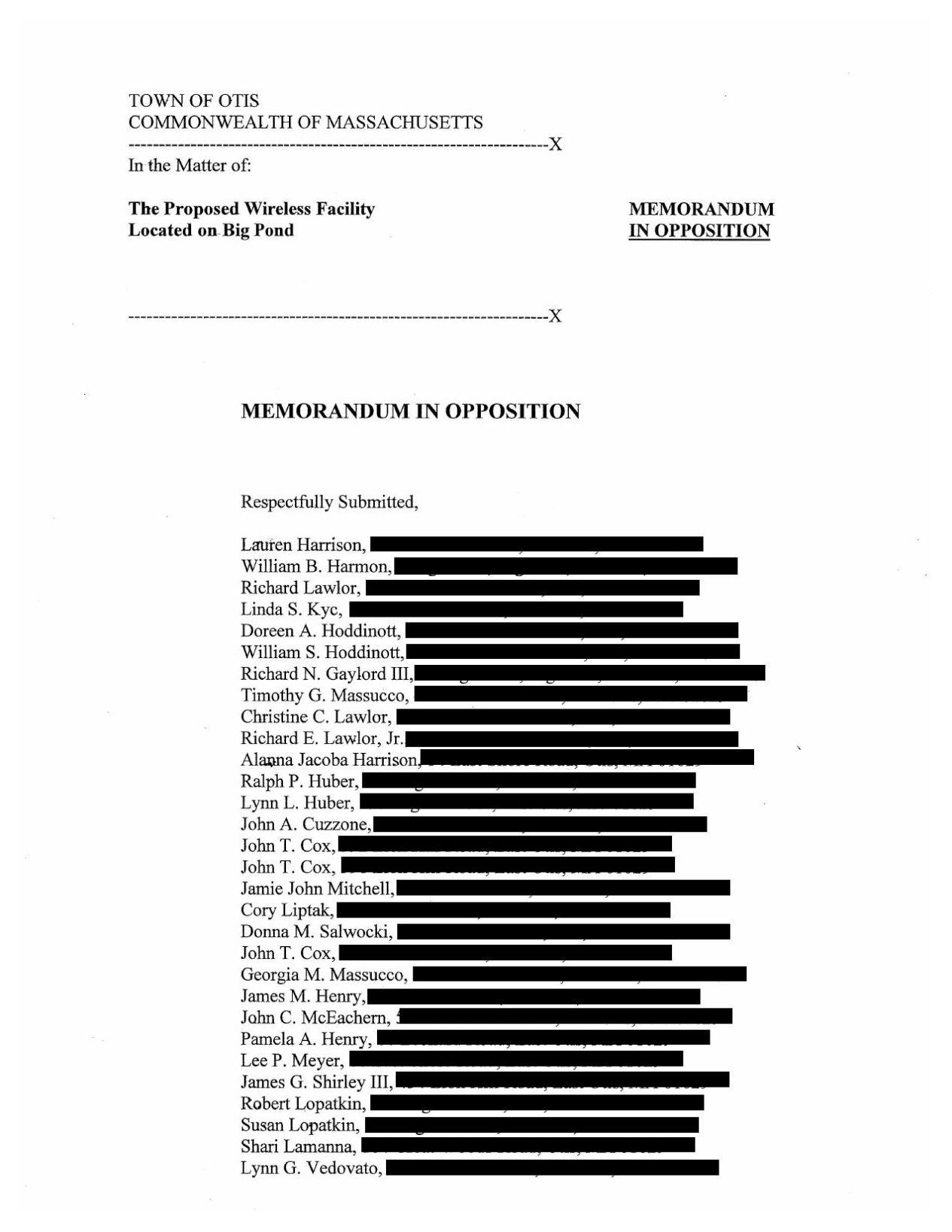 Memorandum in Opposition - Otis cell tower