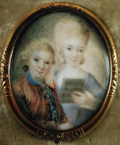 Wolfgang Amadeus Mozart  and his sister Maria-Anna, called 'Nannerl'