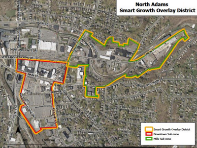 A map of the North Adams 'Smart Growth' overlay district (copy)