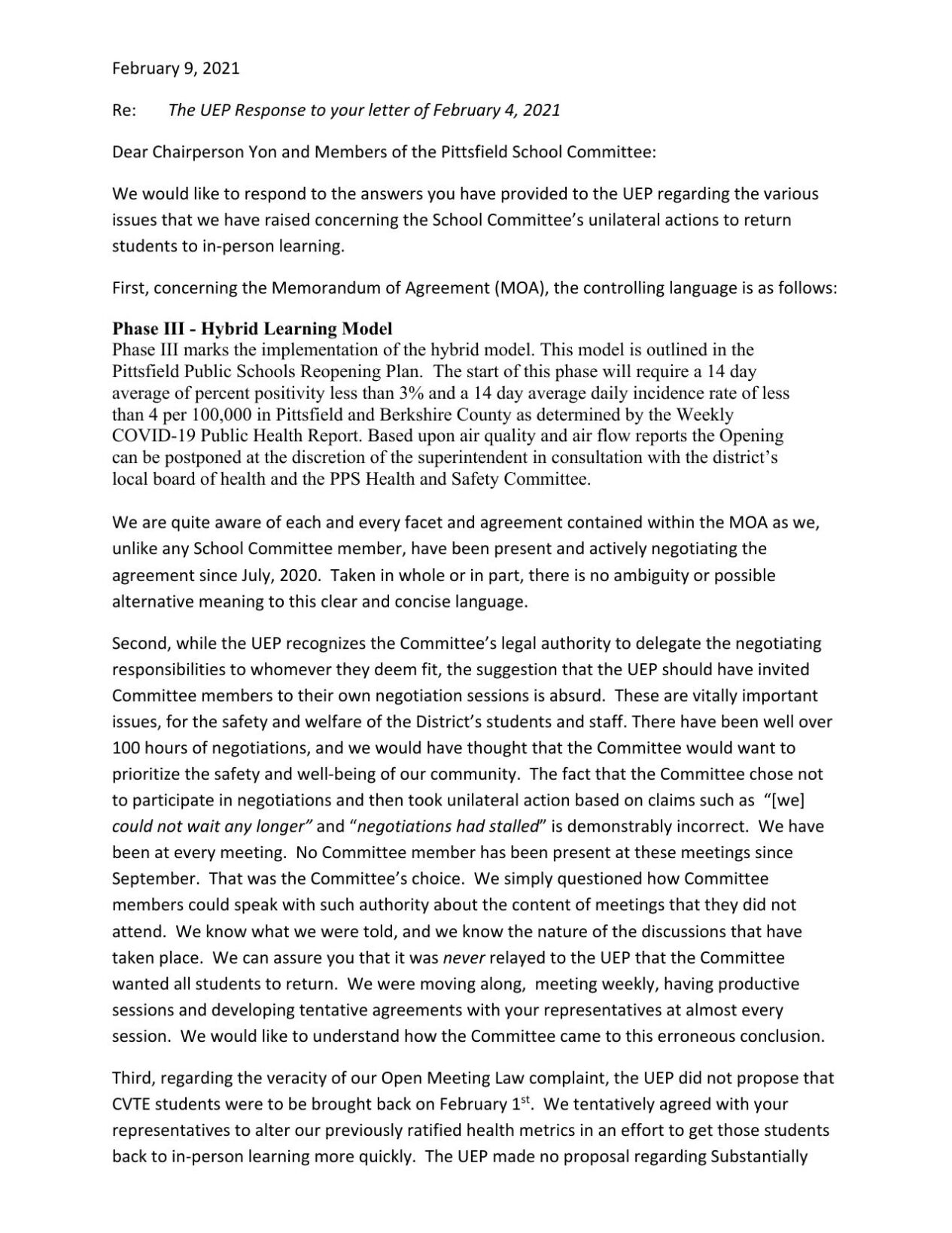 UEP Letter to Pittsfield School Committee