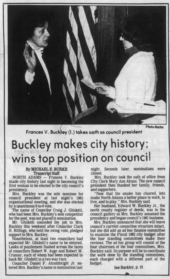 A news article from The Transcript about Frances Buckley as City Council president