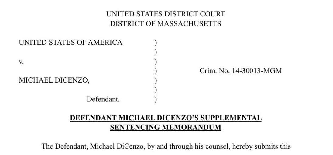 Michael DiCenzo Sentencing Recommendation
