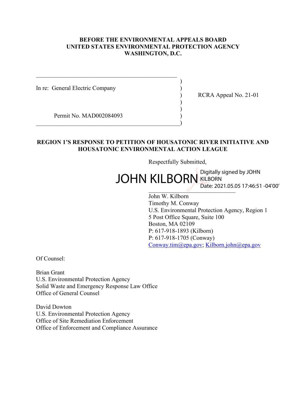 EPA Response to Petition