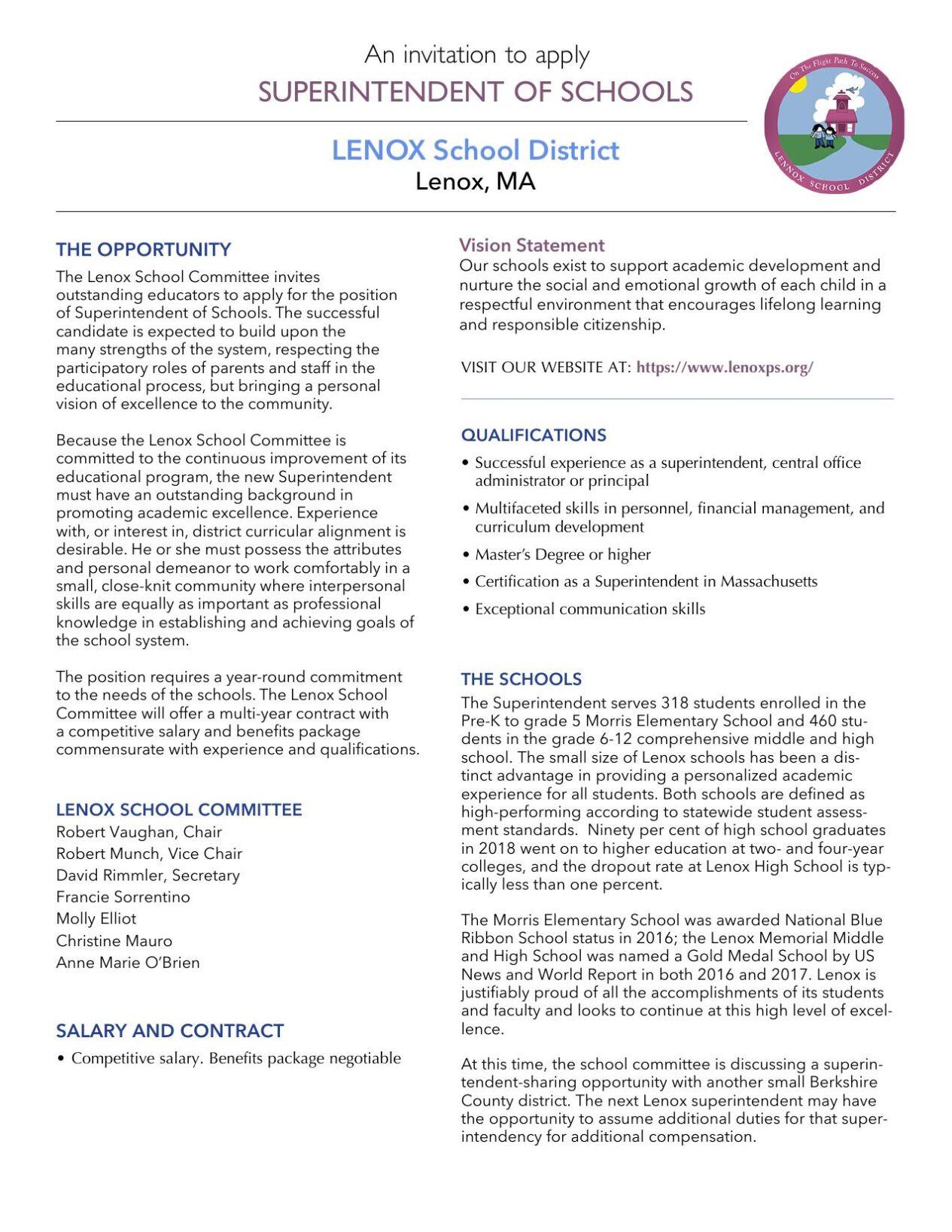 Lenox Schools Superindent posting