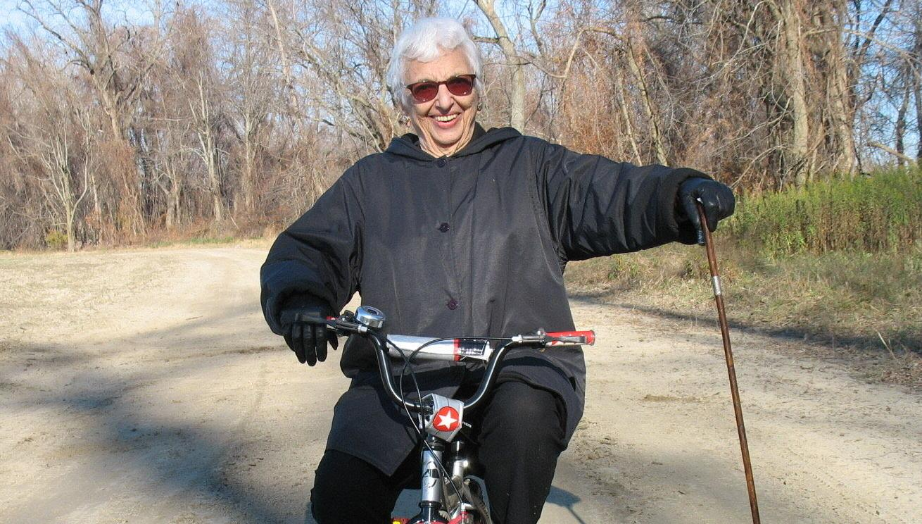 Lucille Warner at Thanksgiving 2012, at 89 years old, on her grandson's bicycle at Northampton Meadows.jpg