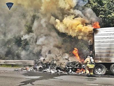 Truck inferno slows westbound traffic on Pike near Blandford
