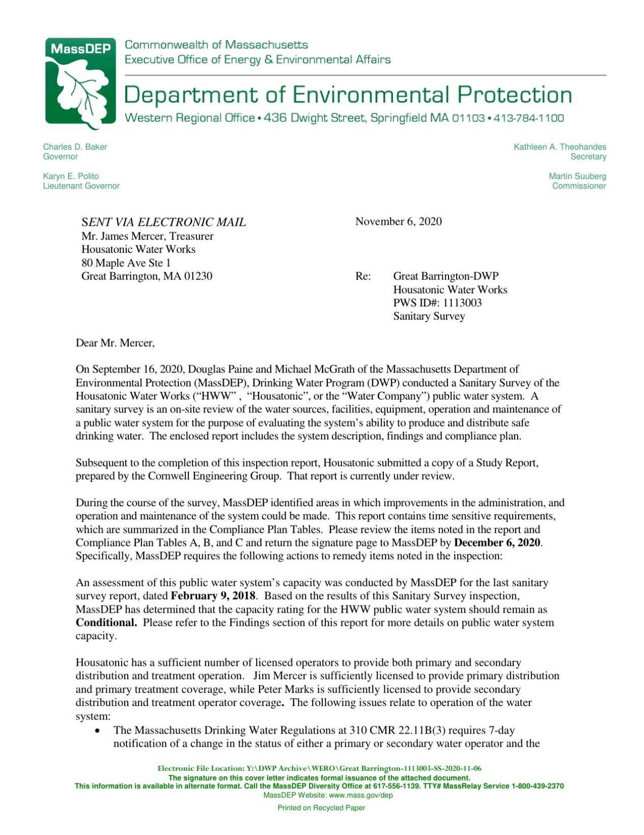 MassDEP Housatonic Water Works letter