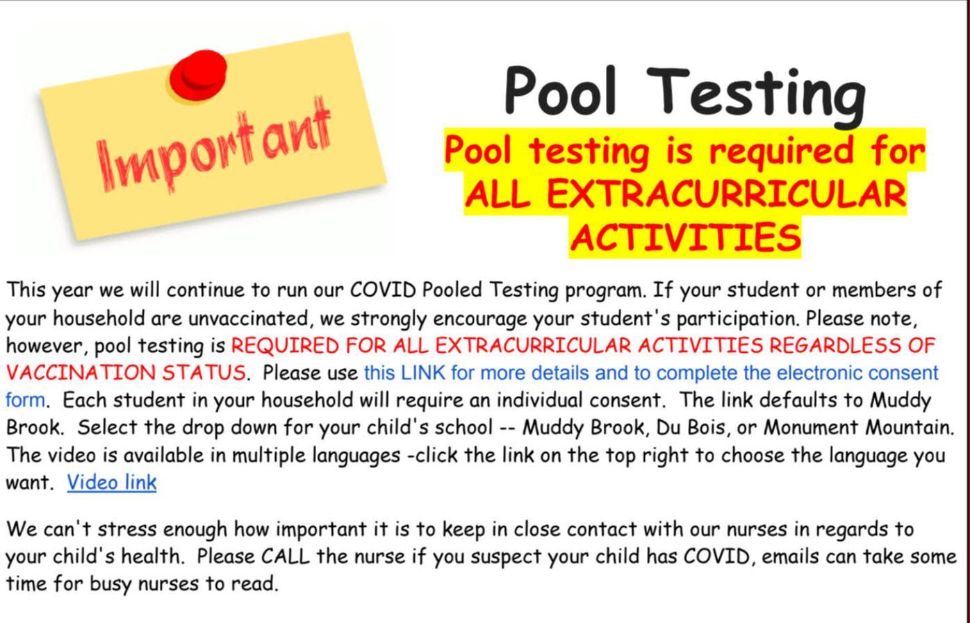 Monument High COVID-19 pool testing