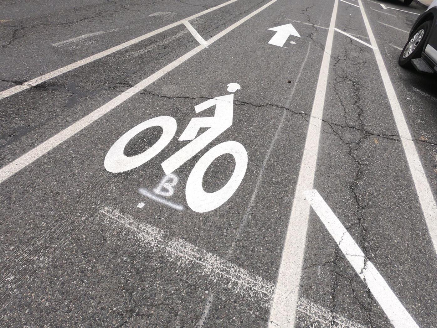 Bike lane markings on street