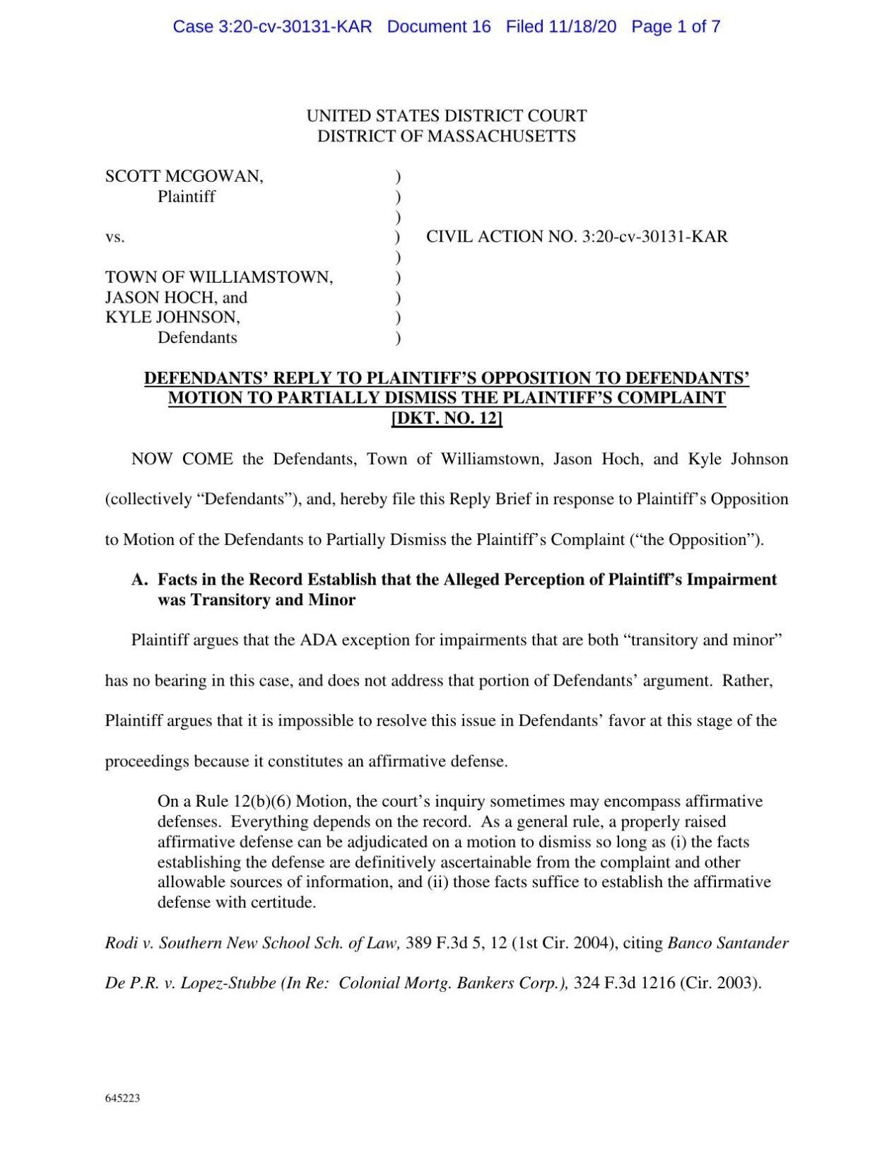 Williamstown brief in McGowan lawsuit Nov. 18, 2020