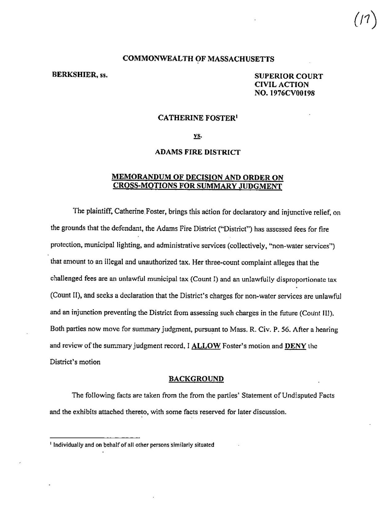 Decision in Catherine Foster vs. Adams Fire District