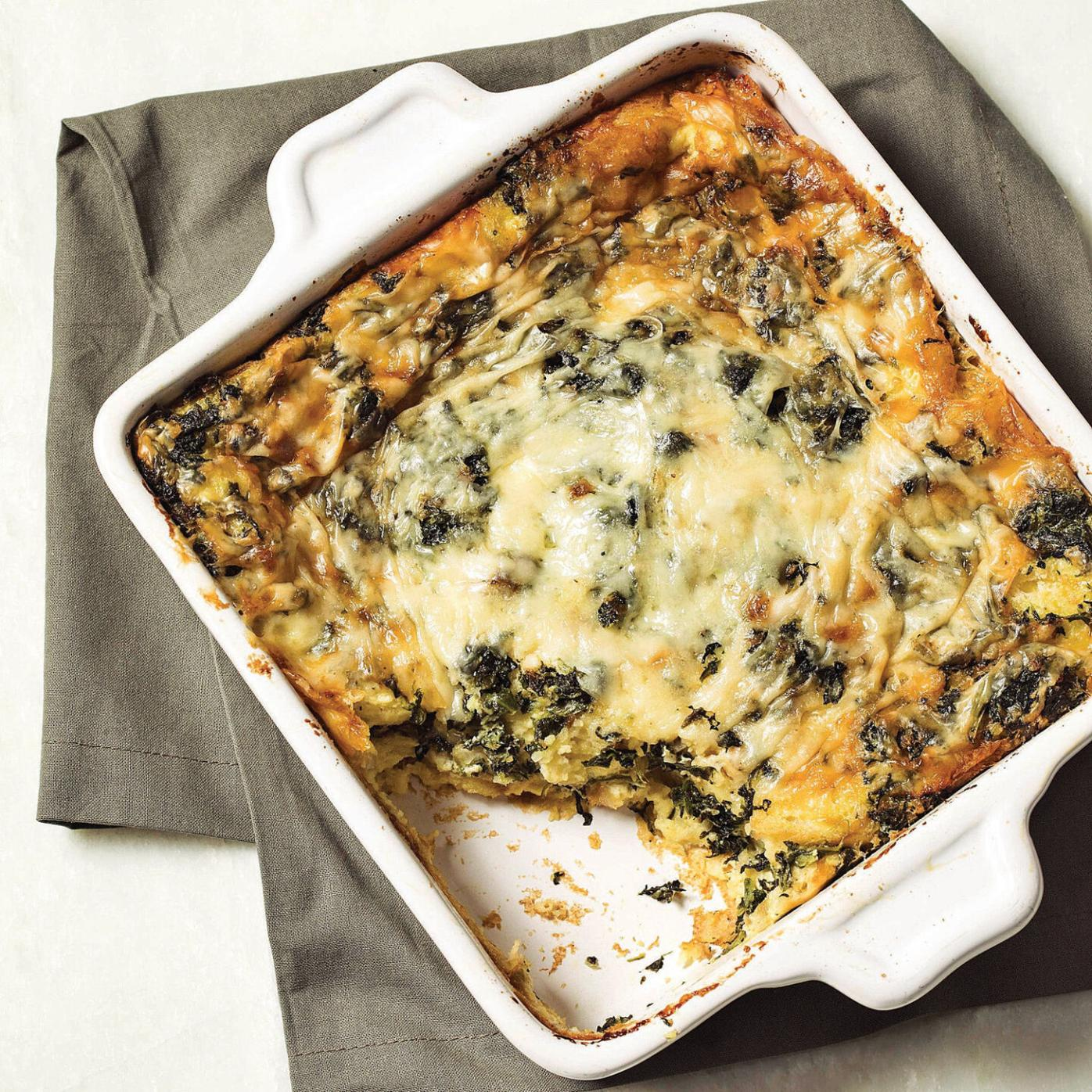 Earthy spinach, nutty cheese star in brunch strata